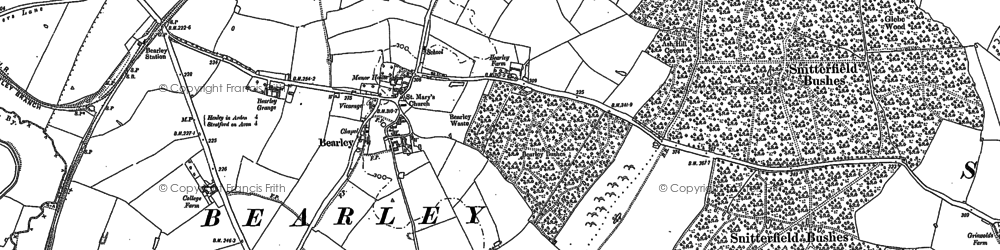 Old map of Bearley in 1885
