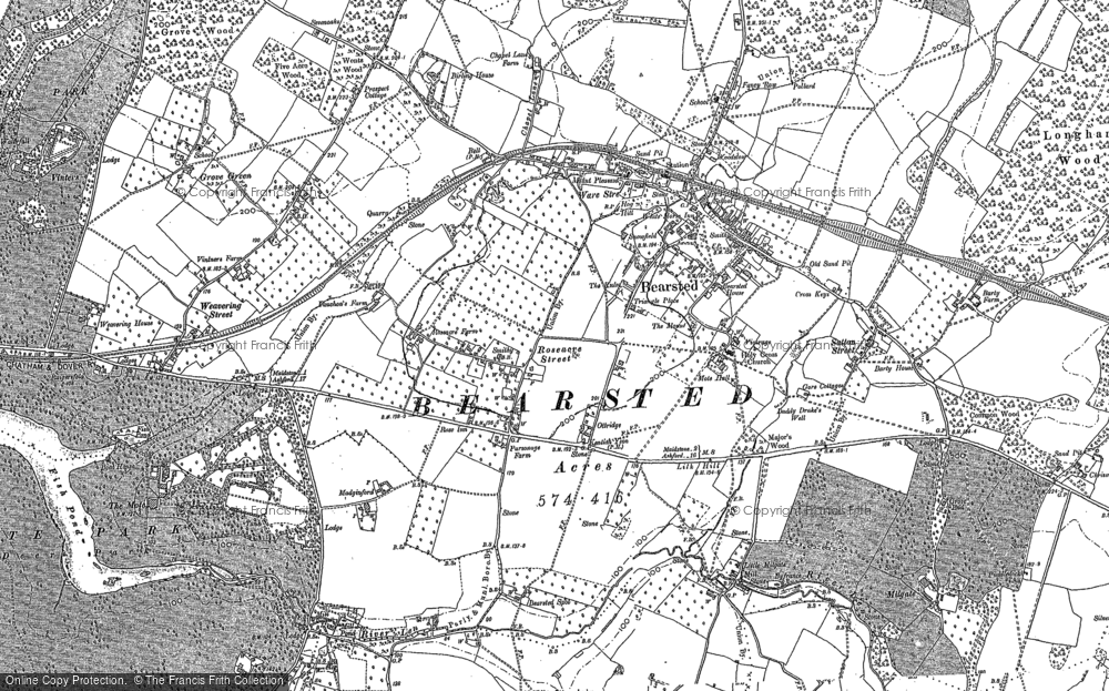 Map of Bearsted, 1867 - 1896