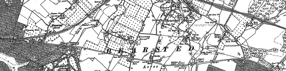 Old map of Bearsted in 1867
