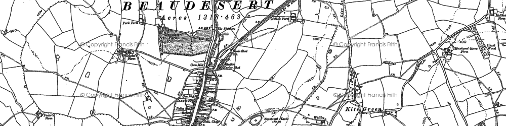Old map of Beaudesert in 1886