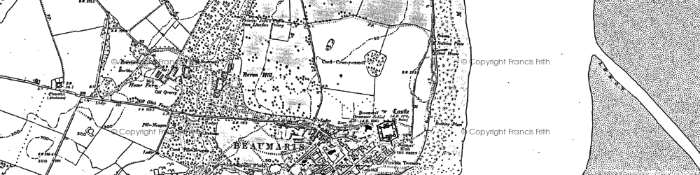 Old map of Beaumaris in 1888