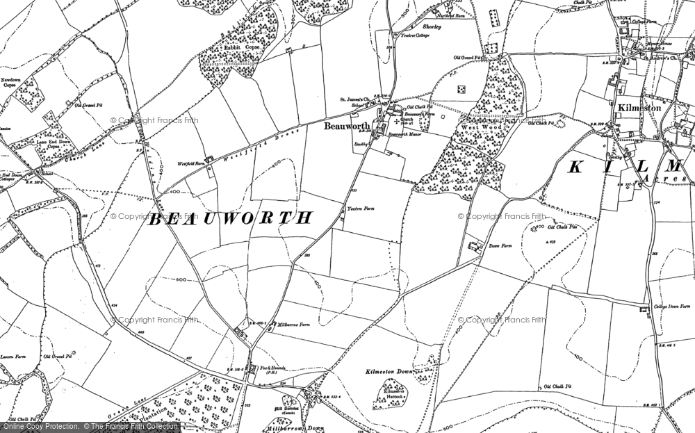 Old Map of Historic Map covering Lane End Down in 1895