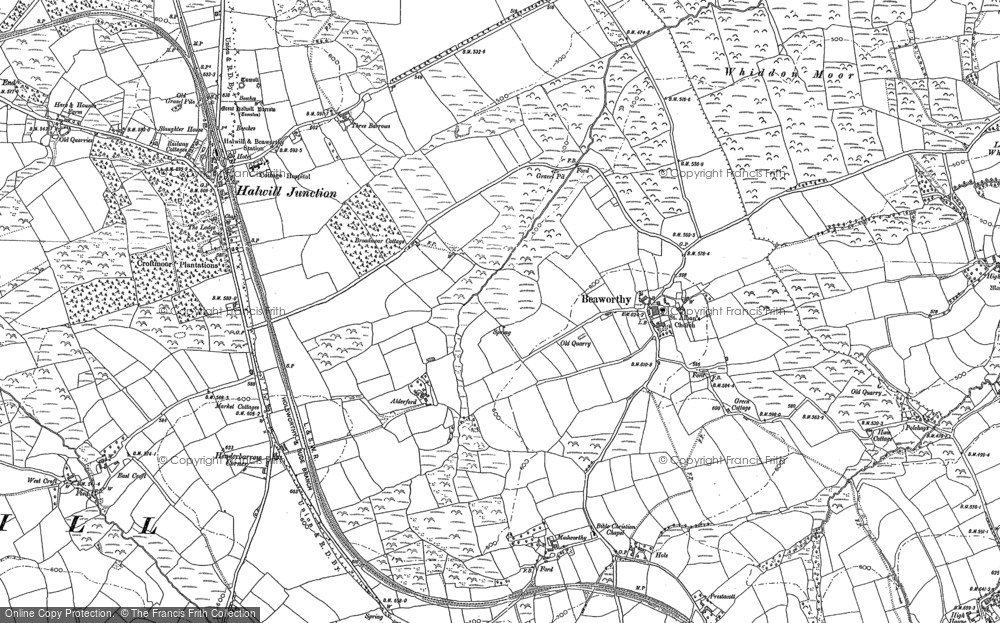 Old Map of Beaworthy, 1883 - 1884 in 1883