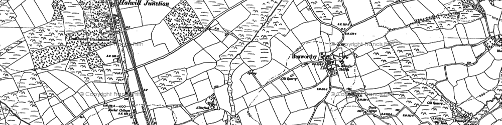 Old map of Whiddon in 1883