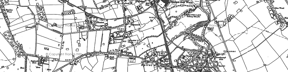 Old map of Bebington in 1898