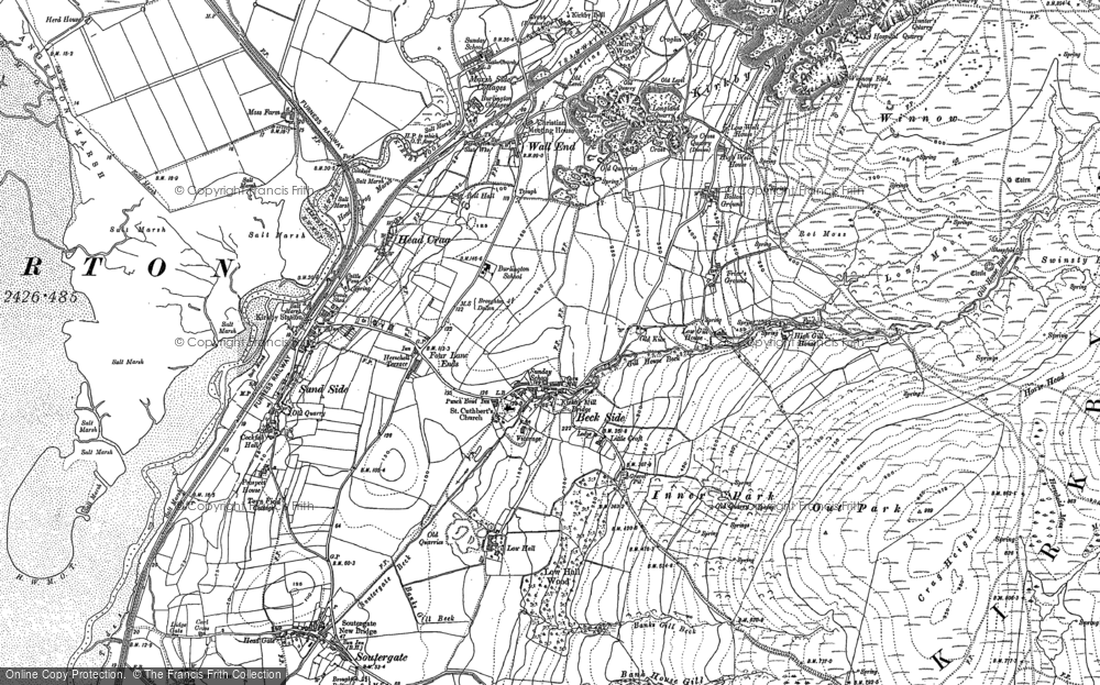 Old Map of Historic Map covering Bank House Moor in 1911