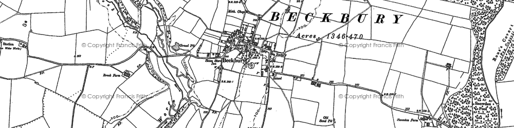 Old map of Beckbury in 1881