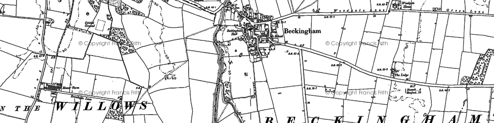 Old map of Beckingham in 1886