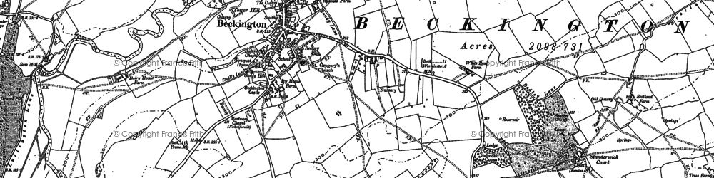 Old map of Beckington in 1902