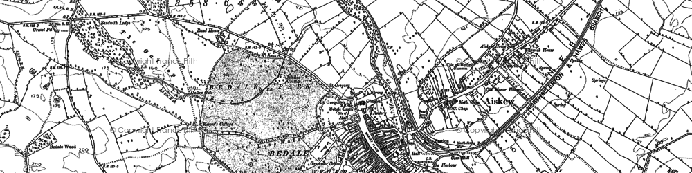 Old map of Bedale in 1890