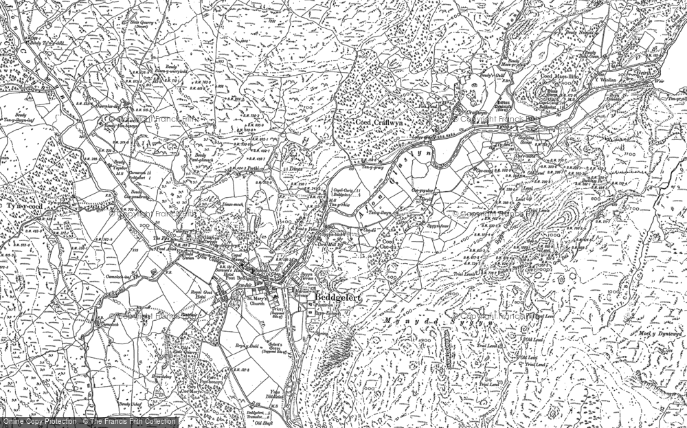 Old Map of Historic Map covering Afon Gorsen in 1878