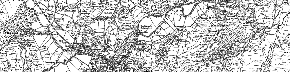 Old map of Beddgelert in 1878