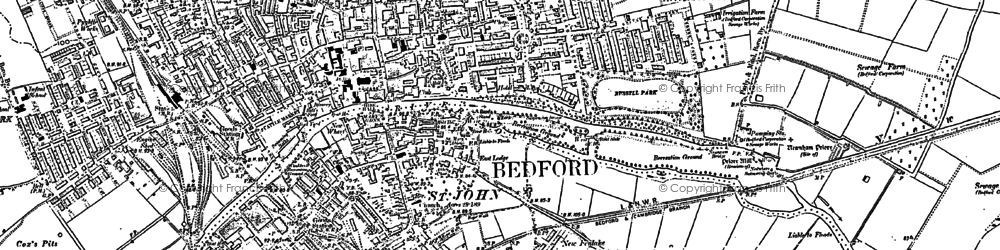Old map of Bedford in 1882