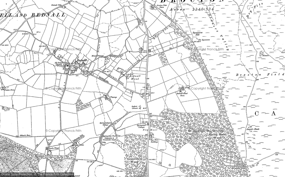 Old Map of Historic Map covering Badger Slade Wood in 1881