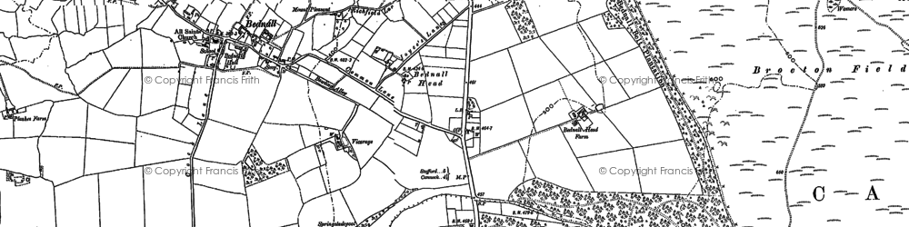 Old map of Badger Slade Wood in 1881