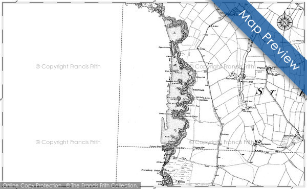 Historic map of Bedruthan Steps