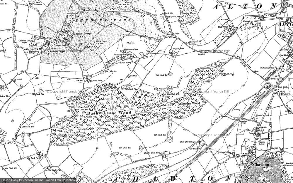 Old Map of Historic Map covering Ackender Wood in 1895