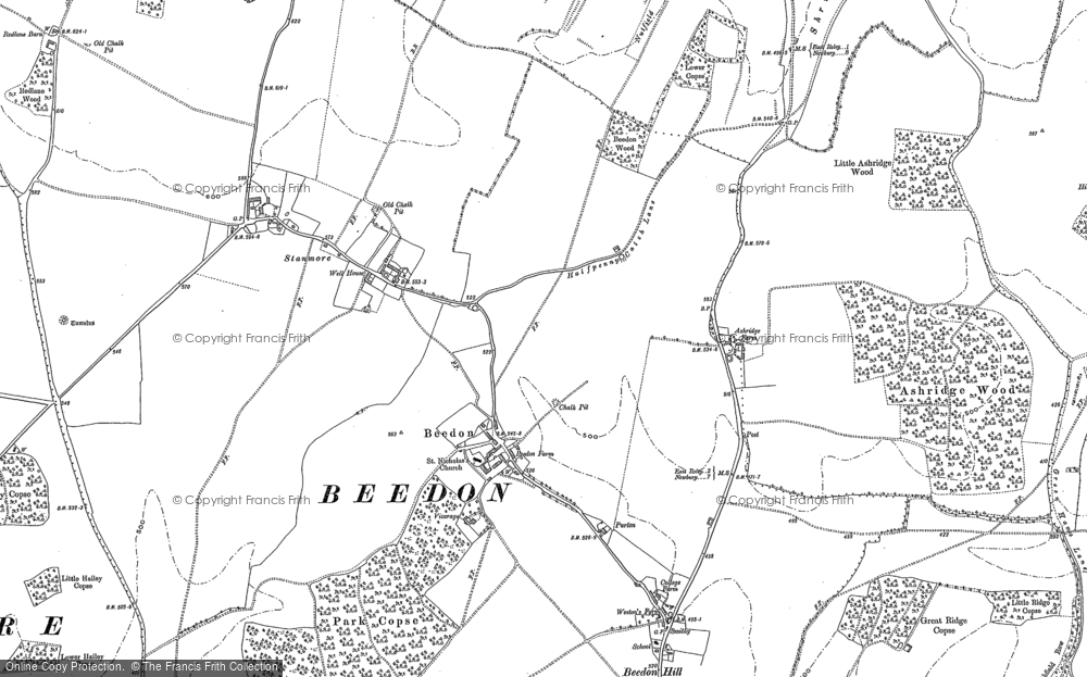 Old Map of Historic Map covering Ashridge Wood in 1898