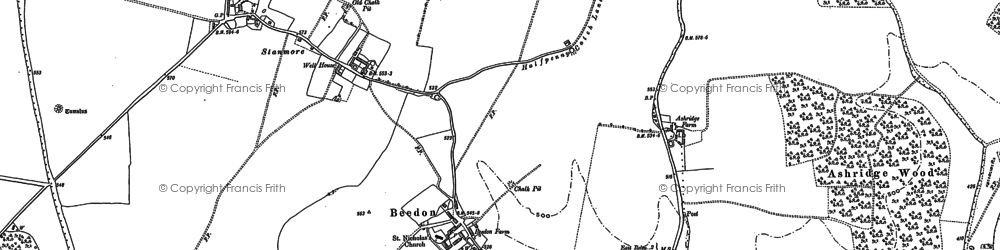 Old map of Ashridge Wood in 1898