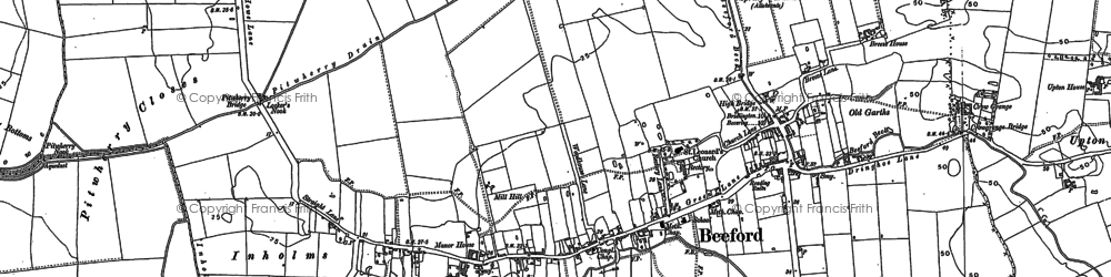 Old map of Beeford in 1890
