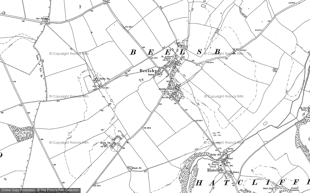 Old Map of Beelsby, 1887 in 1887