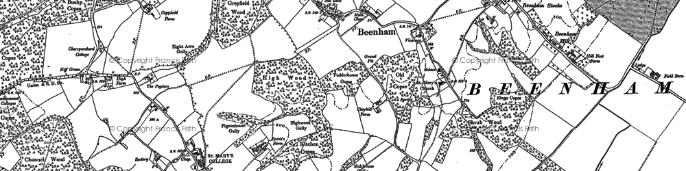 Old map of Beenham in 1898