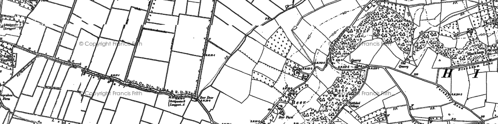 Old map of Aller Wood in 1885