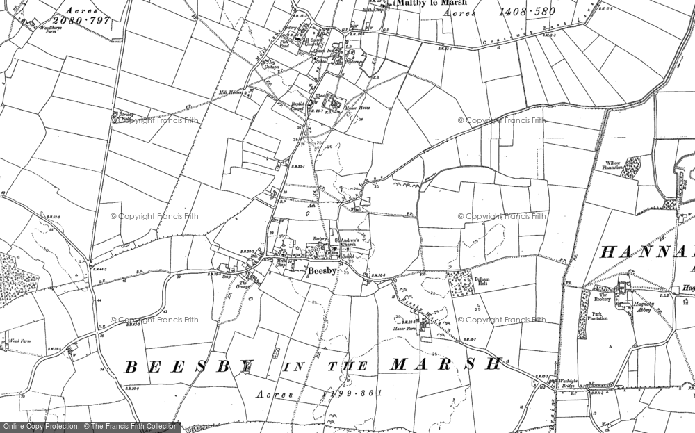 Old Map of Beesby, 1887 - 1888 in 1887