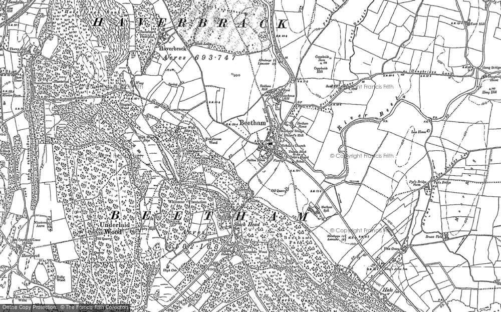 Old Map of Beetham, 1911 - 1912 in 1911
