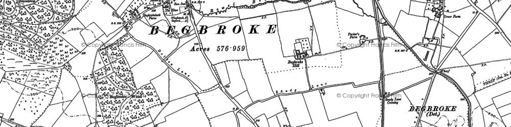 Old map of Begbroke in 1898