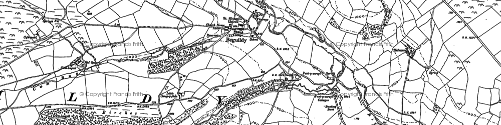 Old map of Beguildy in 1887