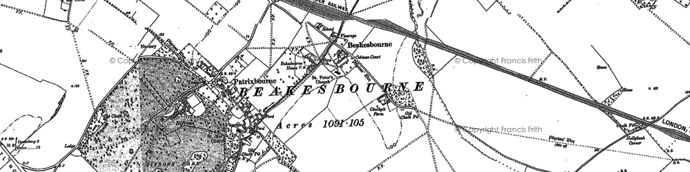 Old map of Bekesbourne in 1896