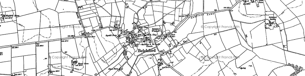 Old map of Belchford in 1887
