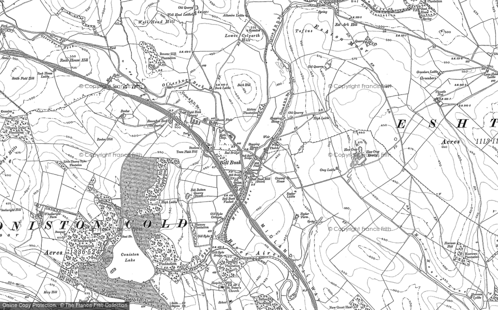 Old Map of Historic Map covering Lingber Hill in 1907