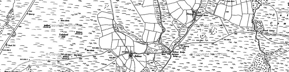 Old map of Laughter Tor in 1884