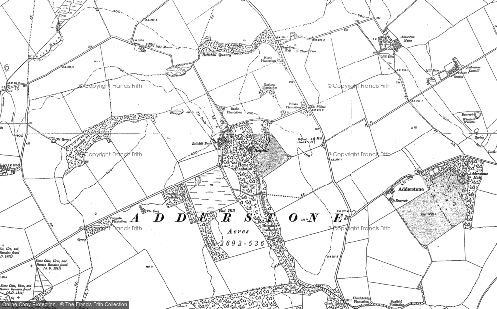 Old Map of Historic Map covering Adderstone Mains in 1897