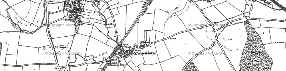Old map of Belmesthorpe in 1885