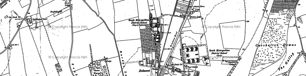 Old map of Banstead Downs in 1896