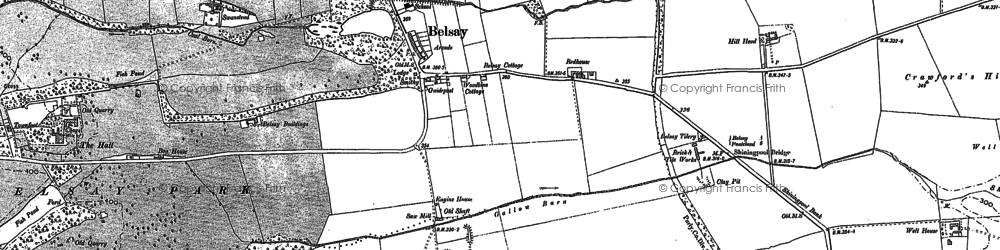 Old map of Belsay in 1895