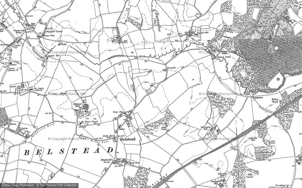 Old Map of Belstead, 1881 - 1882 in 1881