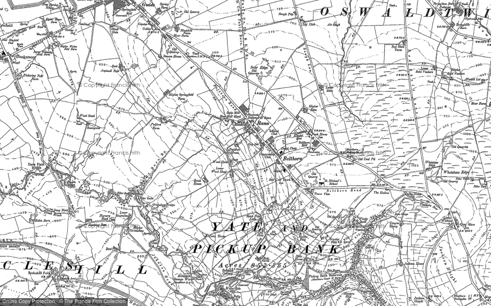 Old Map of Historic Map covering Bank Fold in 1891