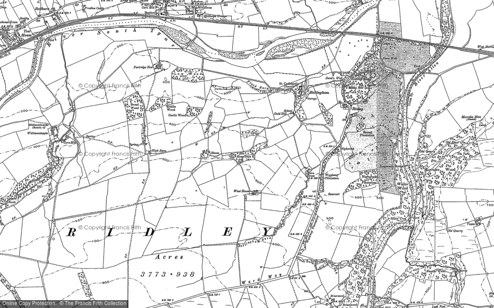 Old Map of Historic Map covering Allen Banks in 1895