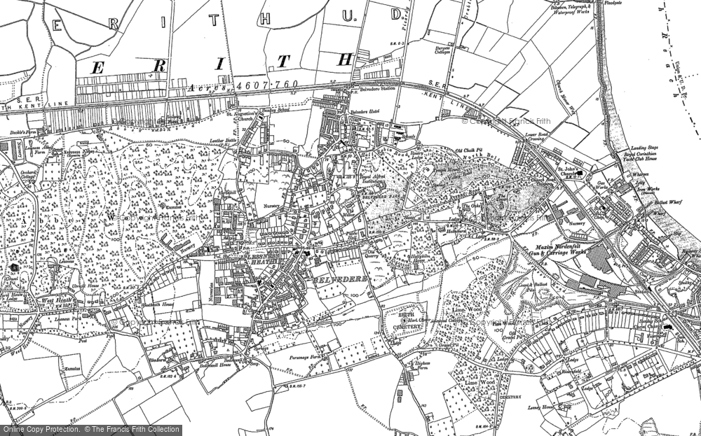 Old Map of Historic Map covering Lessness Heath in 1895
