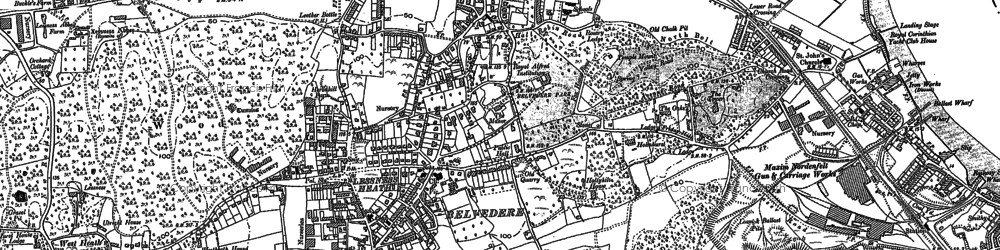 Old map of Lessness Heath in 1895