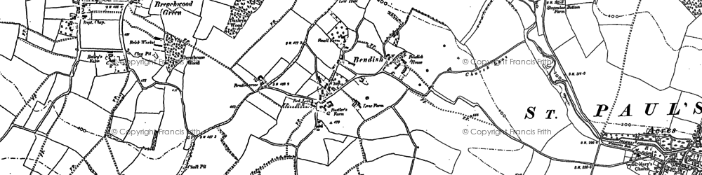 Old map of Bendish in 1897