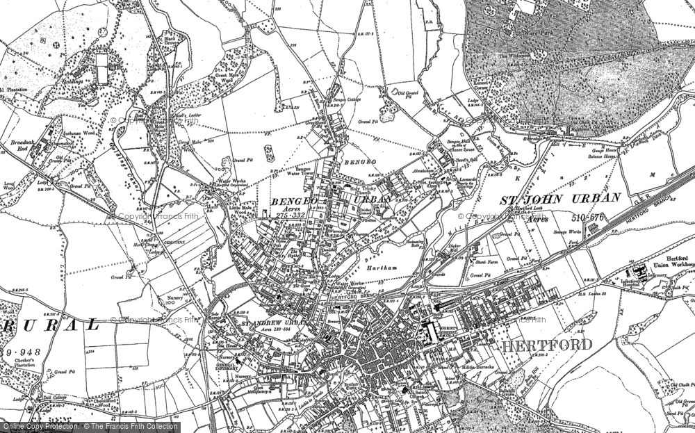 Old Map of Bengeo, 1897 in 1897