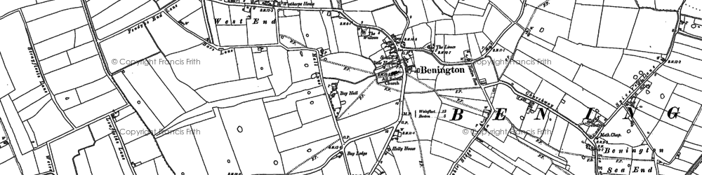Old map of Benington in 1887