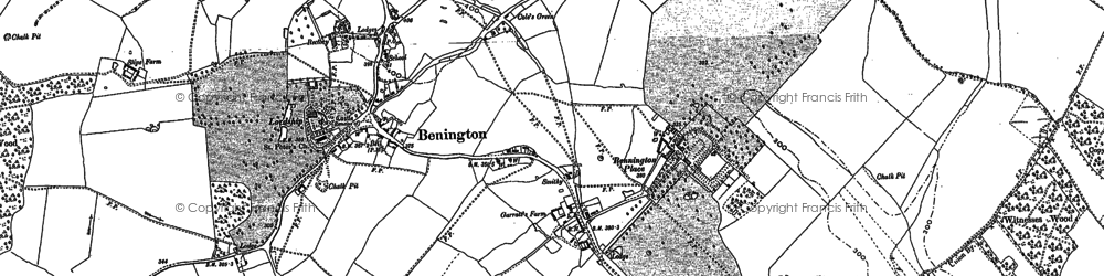Old map of Benington in 1896