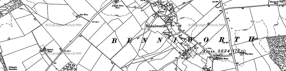 Old map of Benniworth in 1886