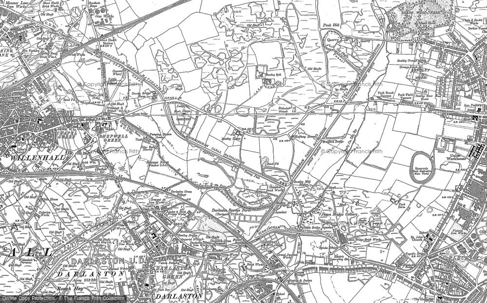 Old Map of Historic Map covering Lane Head in 1885